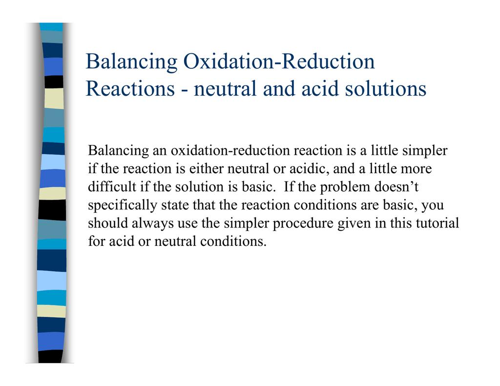 Balancing Oxidation Reduction G Reactions