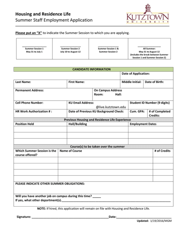 Housing and Residence Life Summer Staff Employment ...