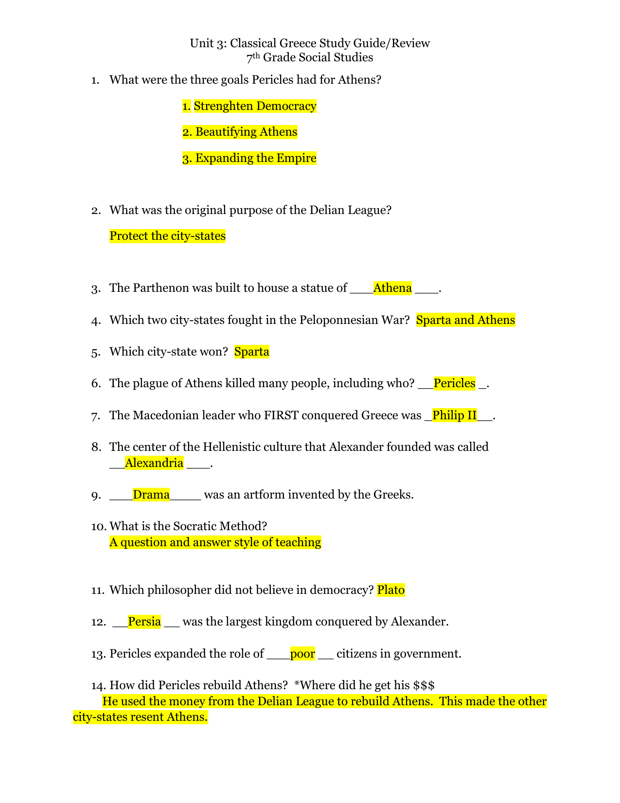 Made By Teachers Ancient Greece Study Guide 6th Grade