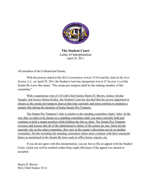 The Student Court Letter Of Interpretation