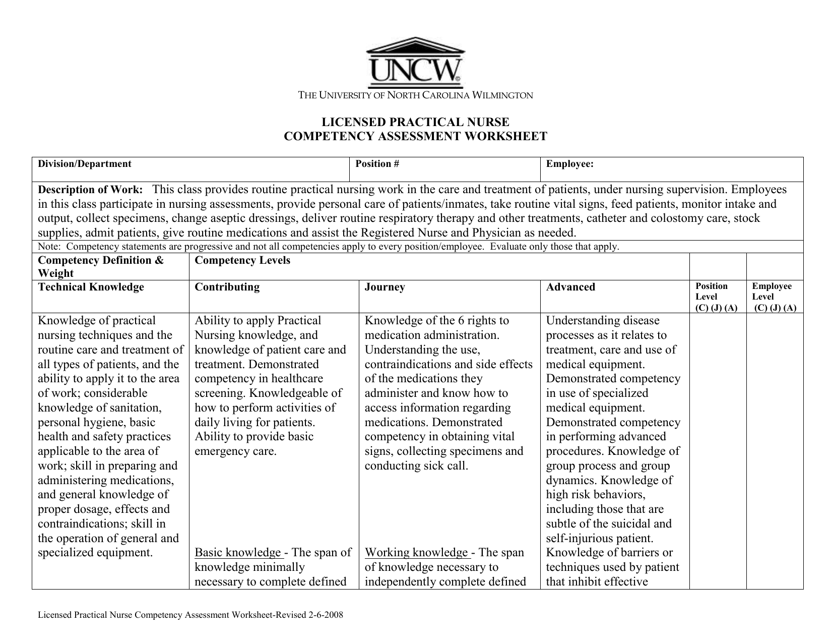 Licensed Practical Nurse Competency Assessment Worksheet