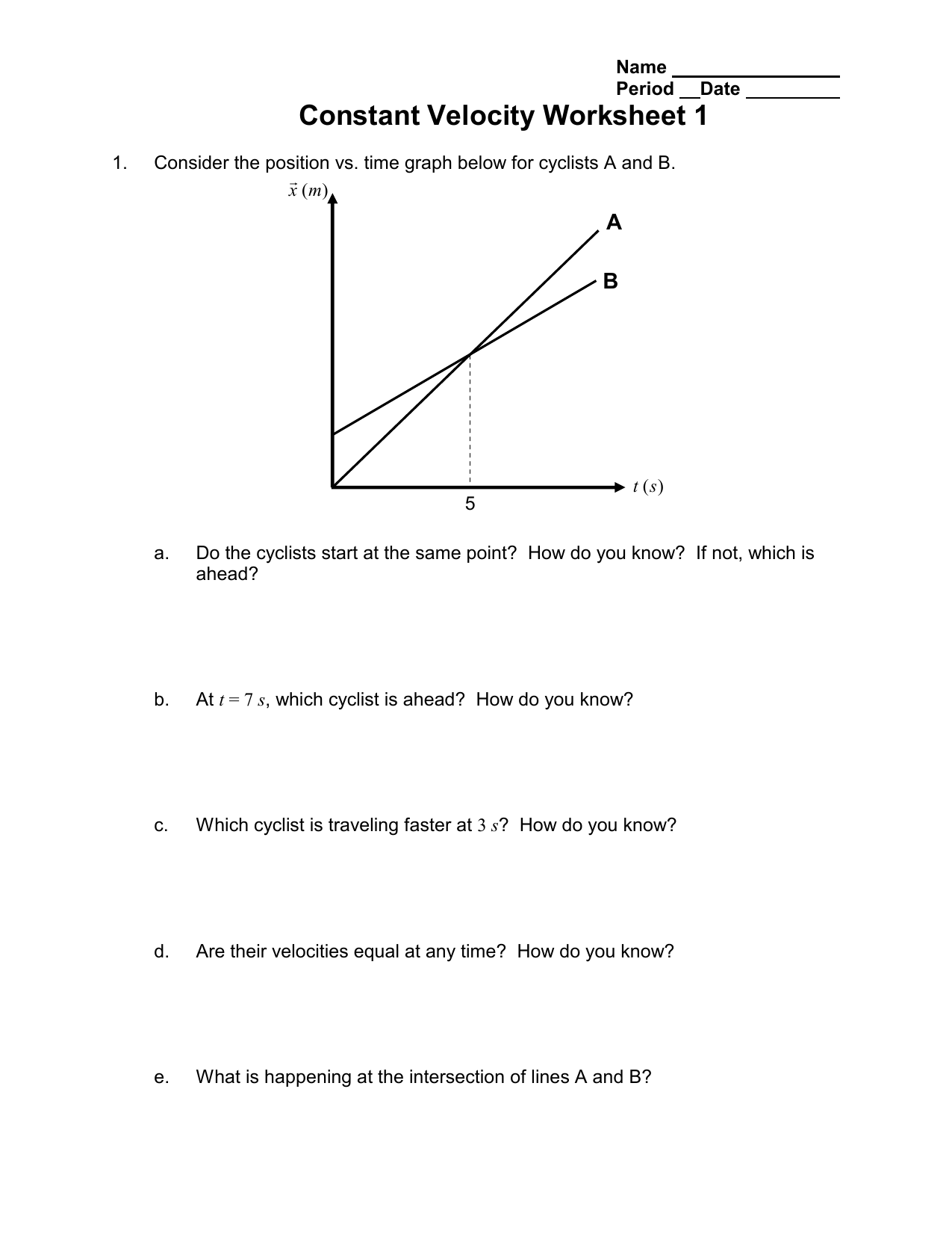 Constant Velocity Worksheet 1 A B
