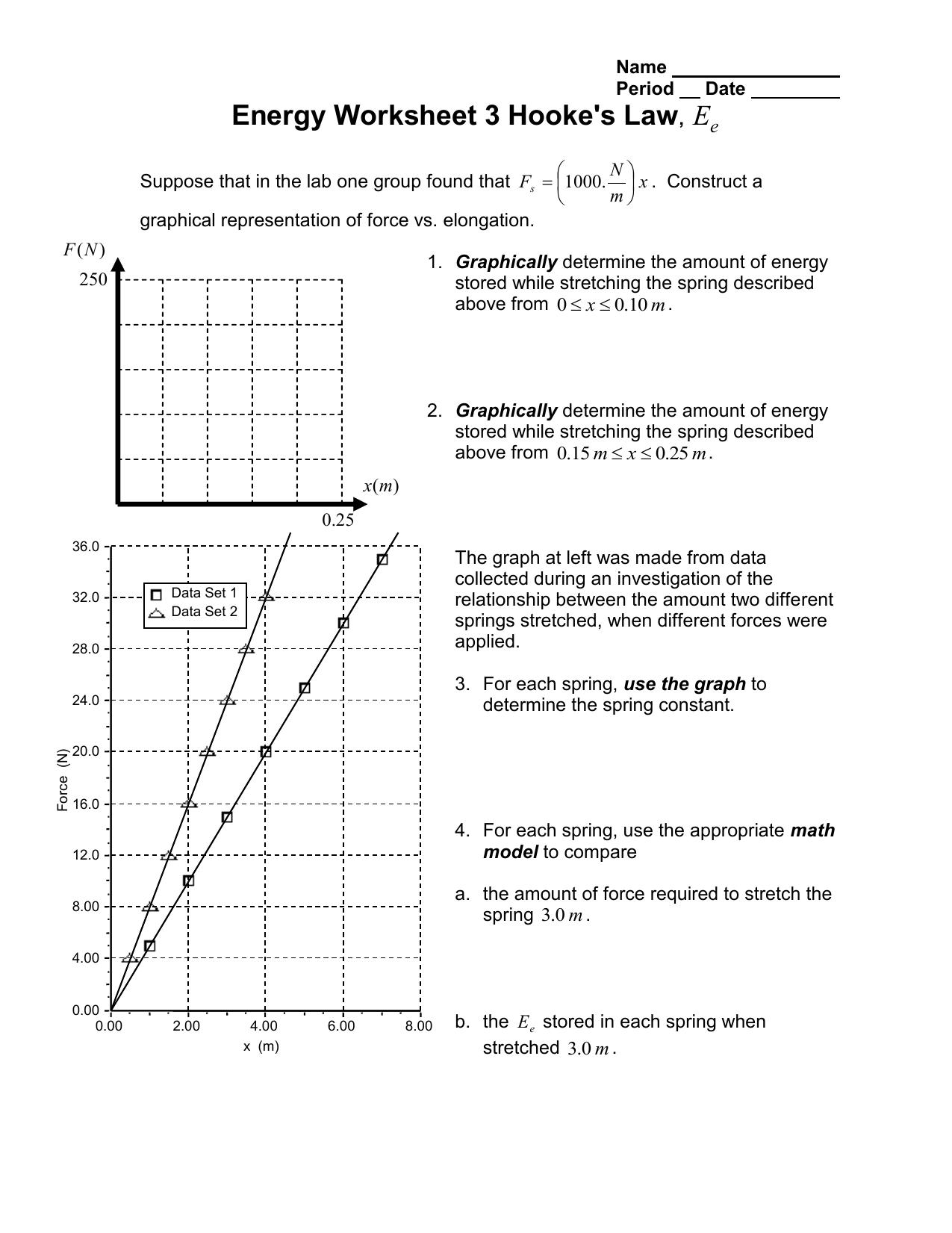 Energy Worksheet 3 Hooke S Law E
