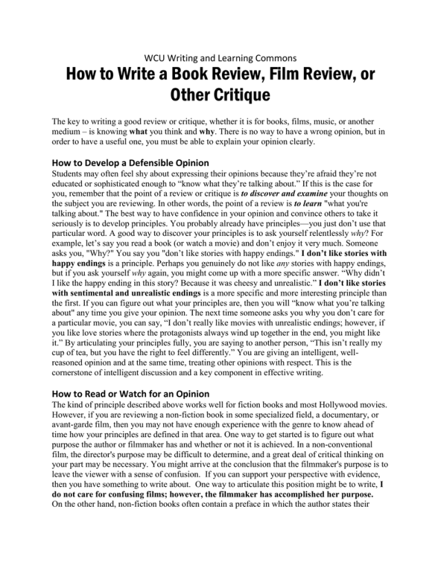How to Write a Book Review, Film Review, or Other Critique