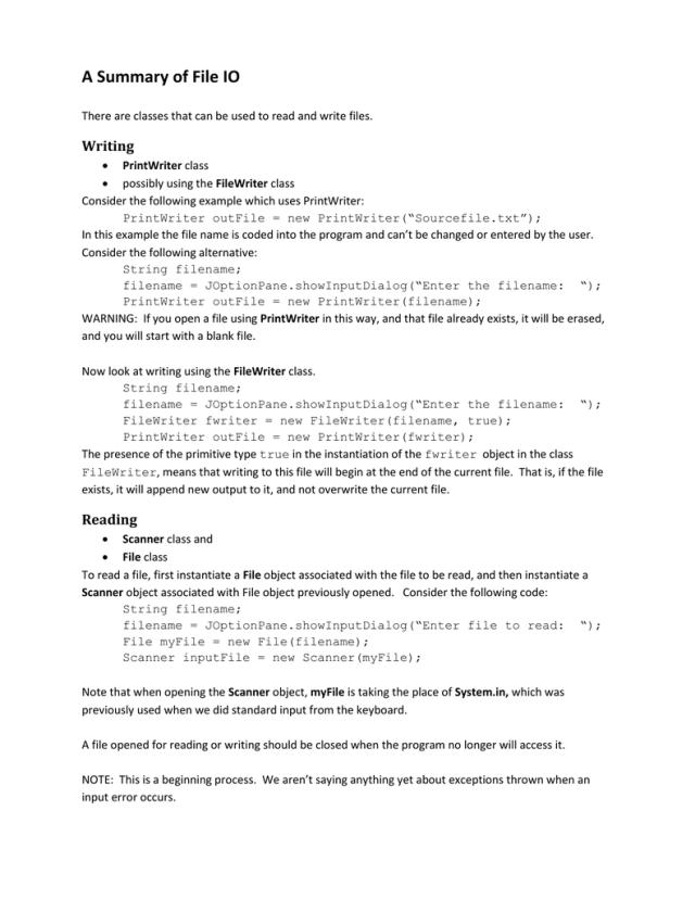 A Summary of File IO Writing