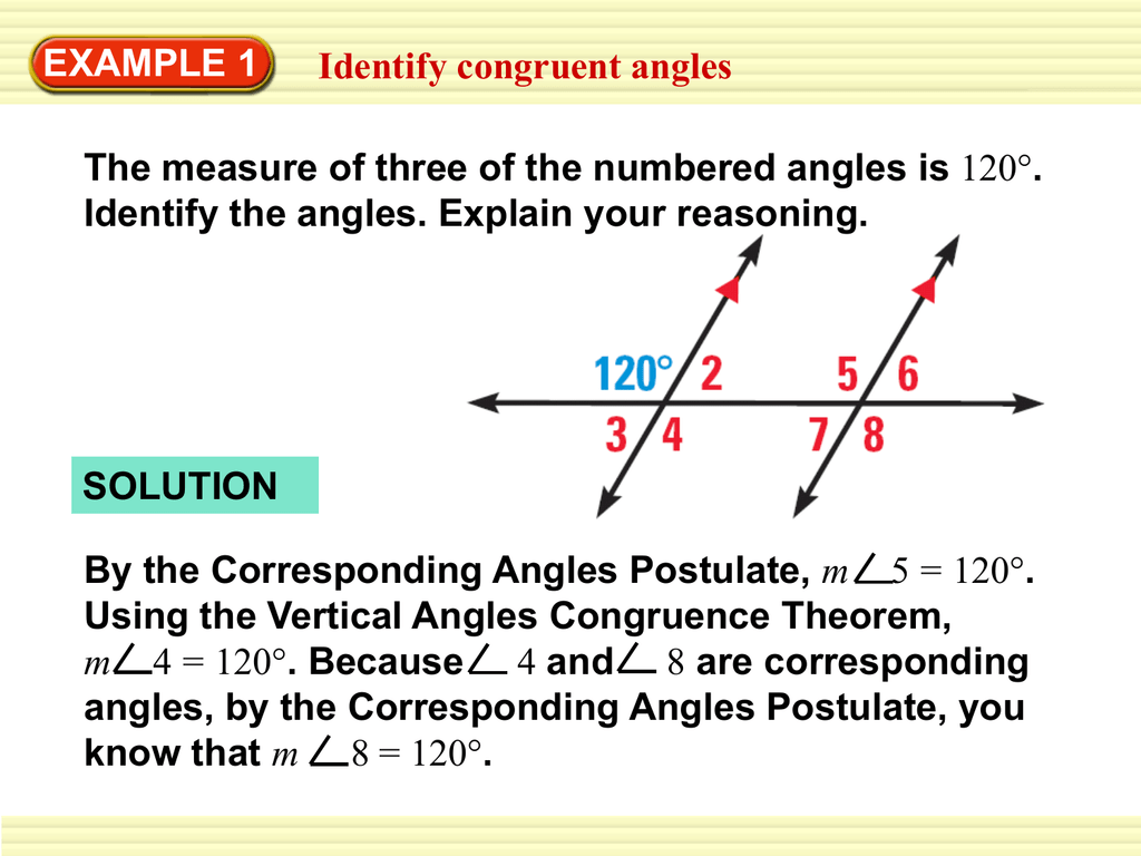 Example 1 Identify Congruent Angles Identify The Angles