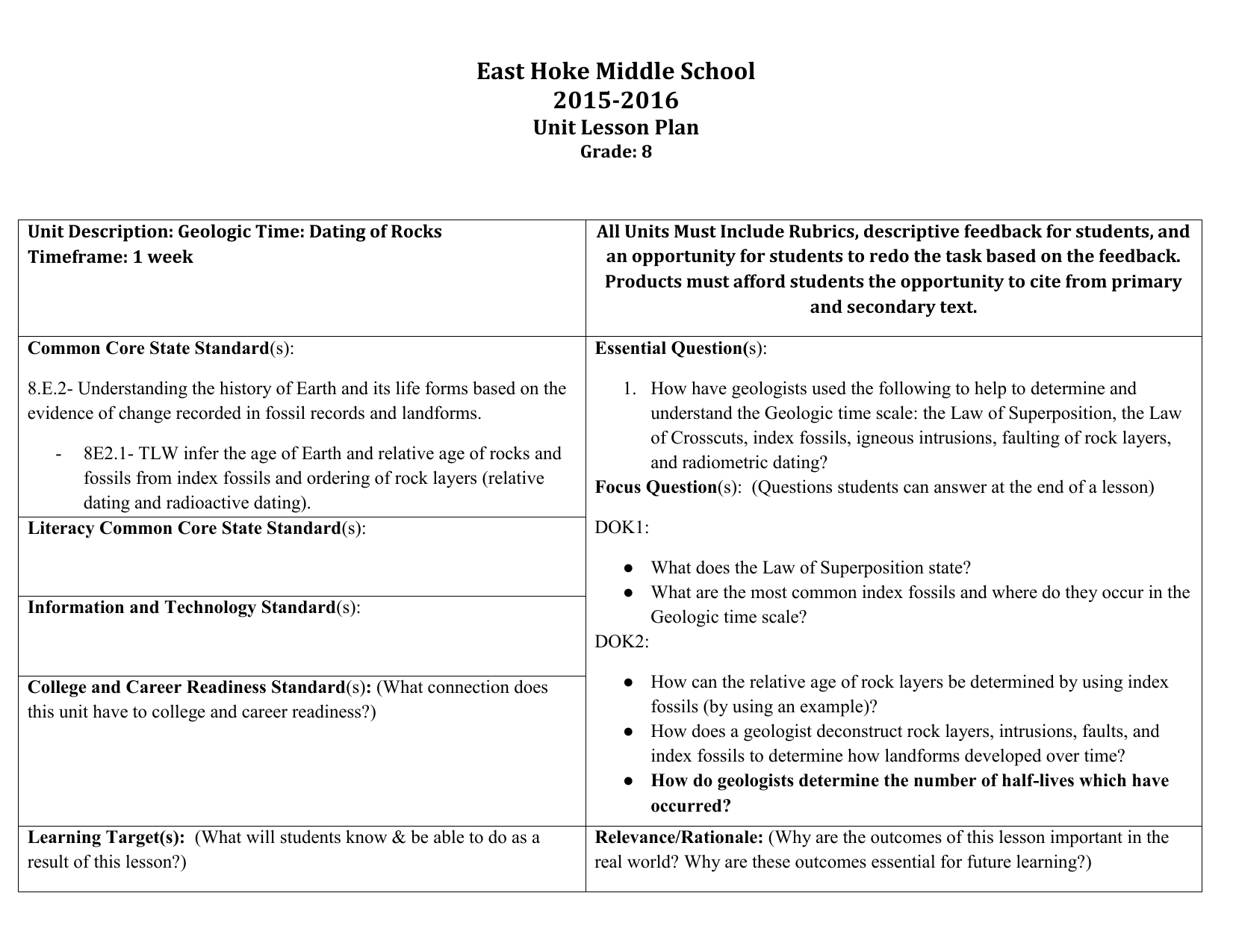 East Hoke Middle School Unit Lesson Plan