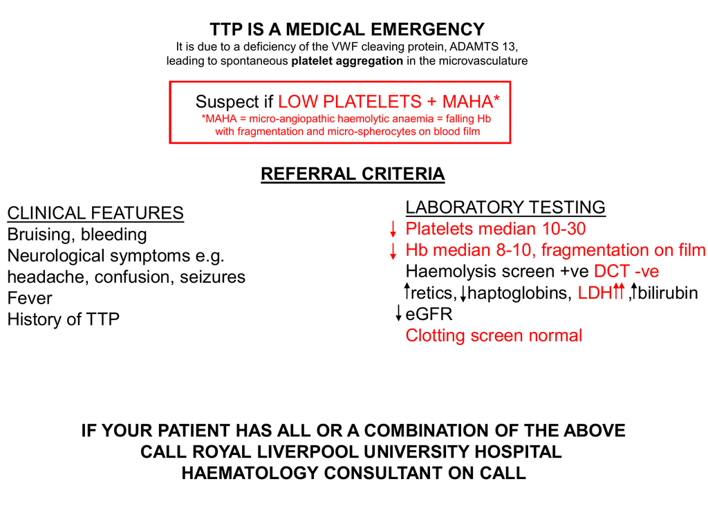 Ttp Is A Medical Emergency Suspect If Low Platelets Maha