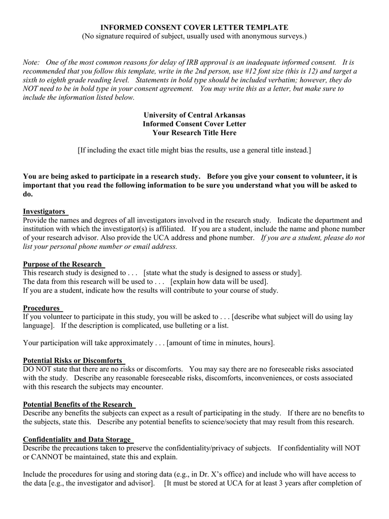 IRB Informed Consent Cover Letter Template