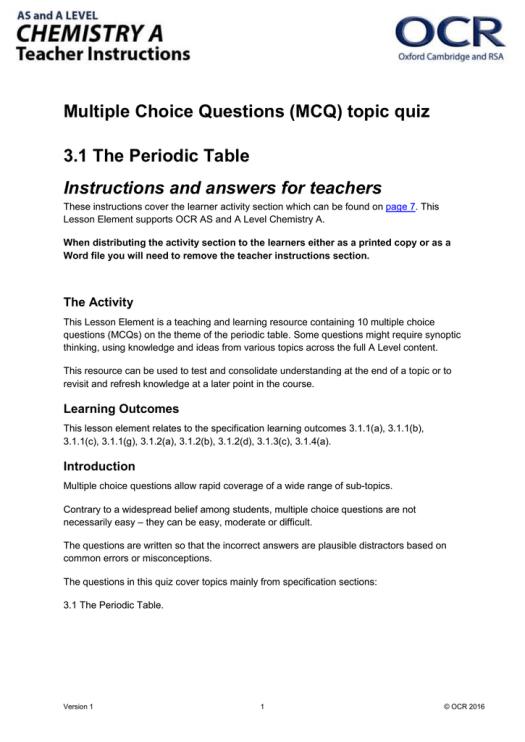 Periodic table of elements multiple choice test doc periodic the periodic table mcq topic quiz lesson element doc 279kb urtaz Choice Image