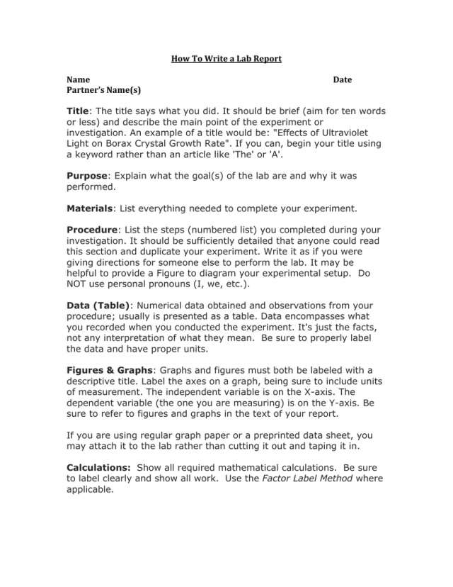 Write My Lab Report - Writing a Science lab report - Research