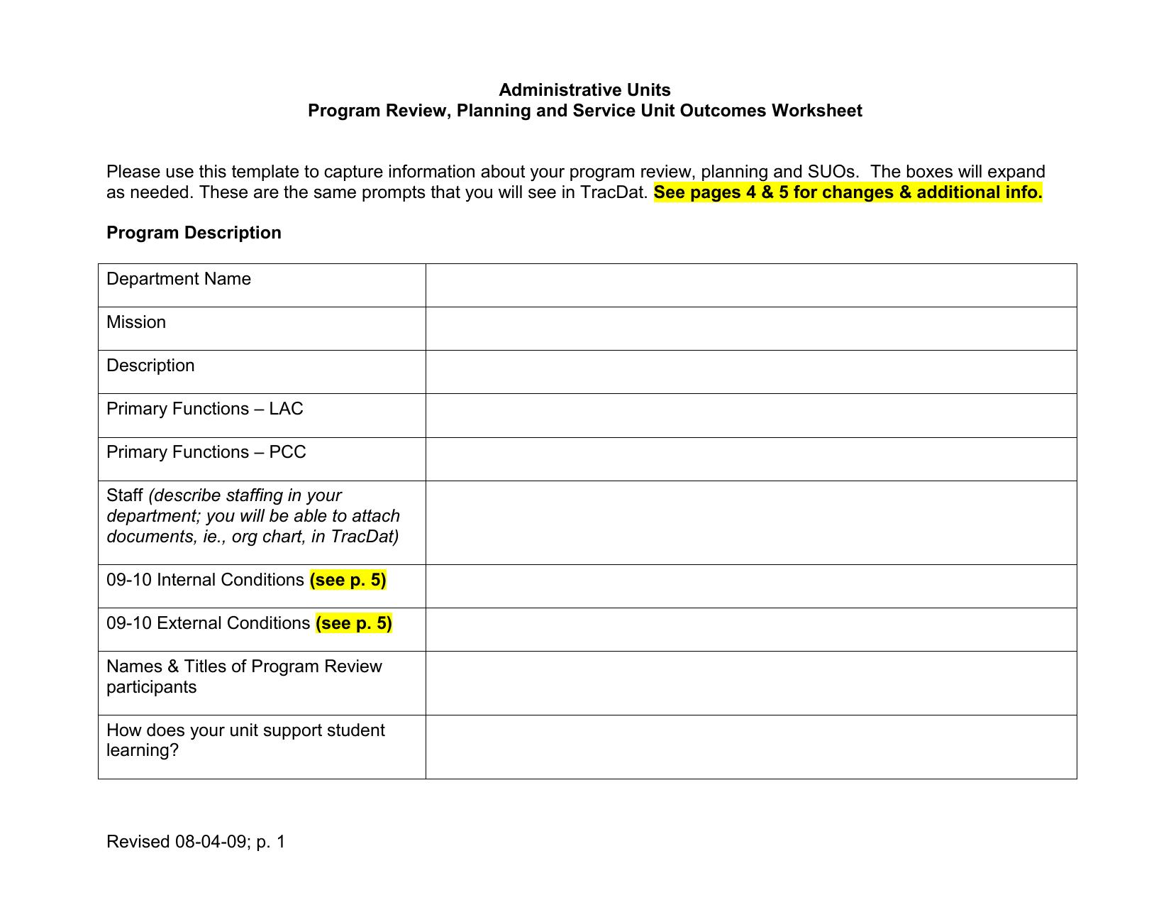 Program Plan Program Review Worksheet