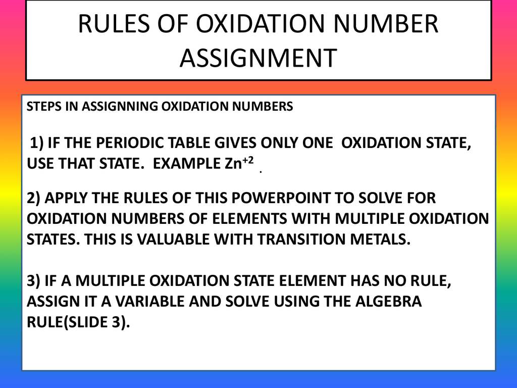 Periodic Table Oxidation State Rules