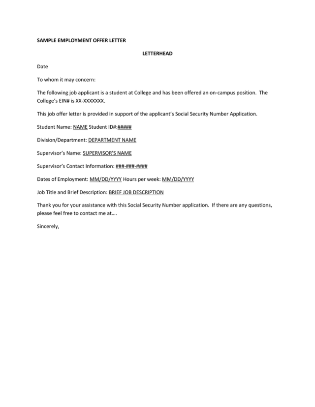 SAMPLE EMPLOYMENT OFFER LETTER LETTERHEAD Date To whom it may concern: