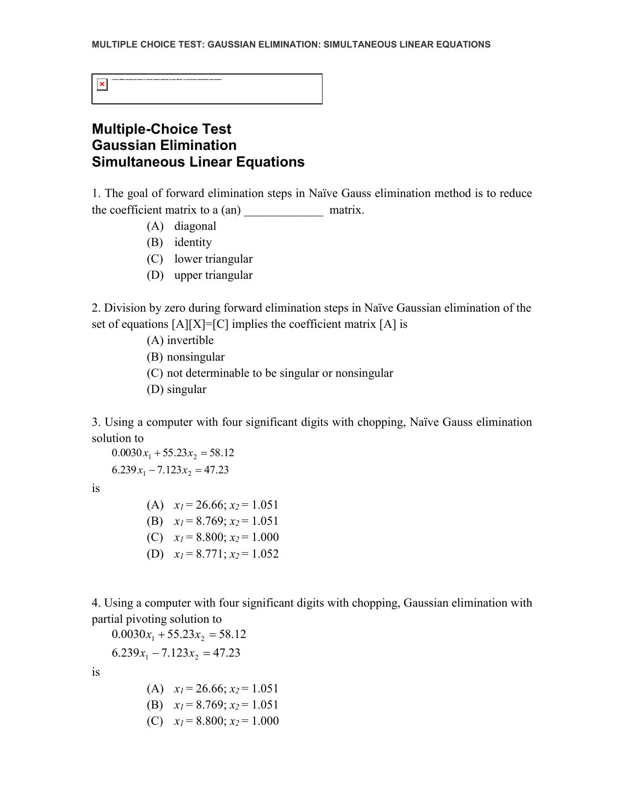 Multiple Choice Test Gaussian Elimination Simultaneous