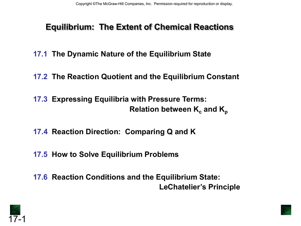 Equilibrium The Extent Of Chemical Reactions