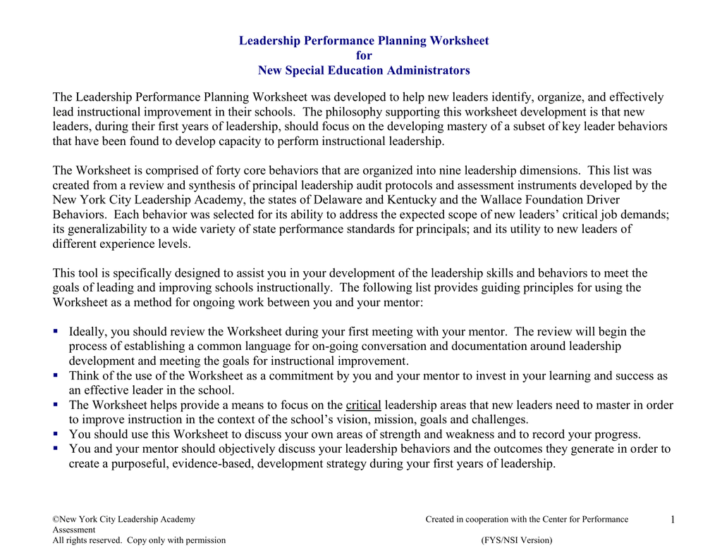 Leadership Performance Planning Worksheet For New Special