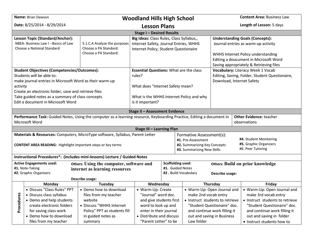 Business Worksheets For High School Students