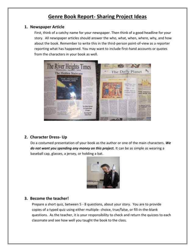 Genre Book Report- Sharing Project Ideas 29. Newspaper Article