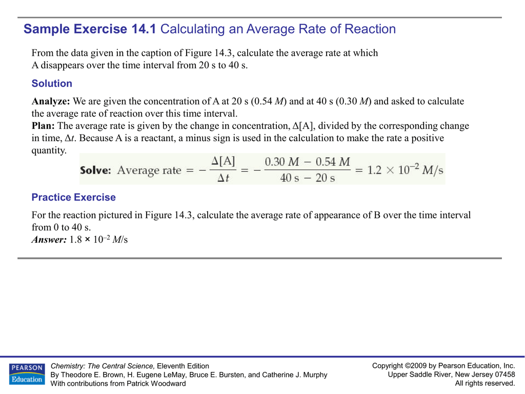 Sample Exercise 14 1 Calculating An Average Rate Of Reaction