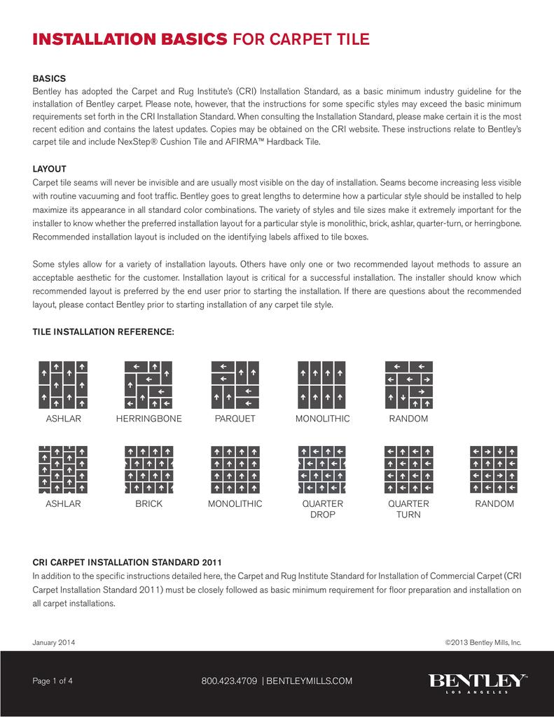 installation basics for carpet tile