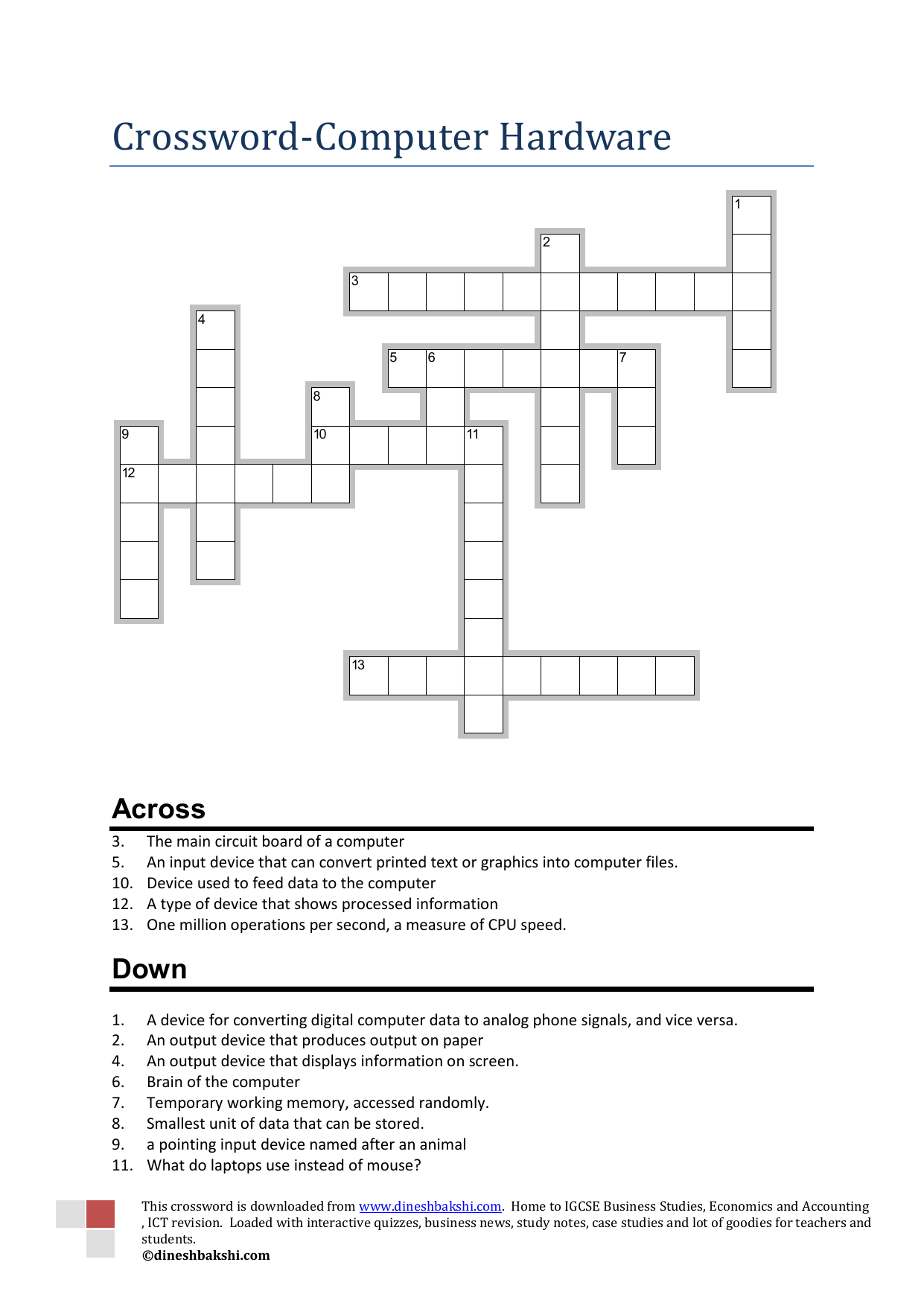 Crossword Computer Hardware