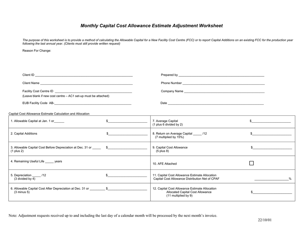 Monthly Capital Cost Allowance Estimate Adjustment Worksheet
