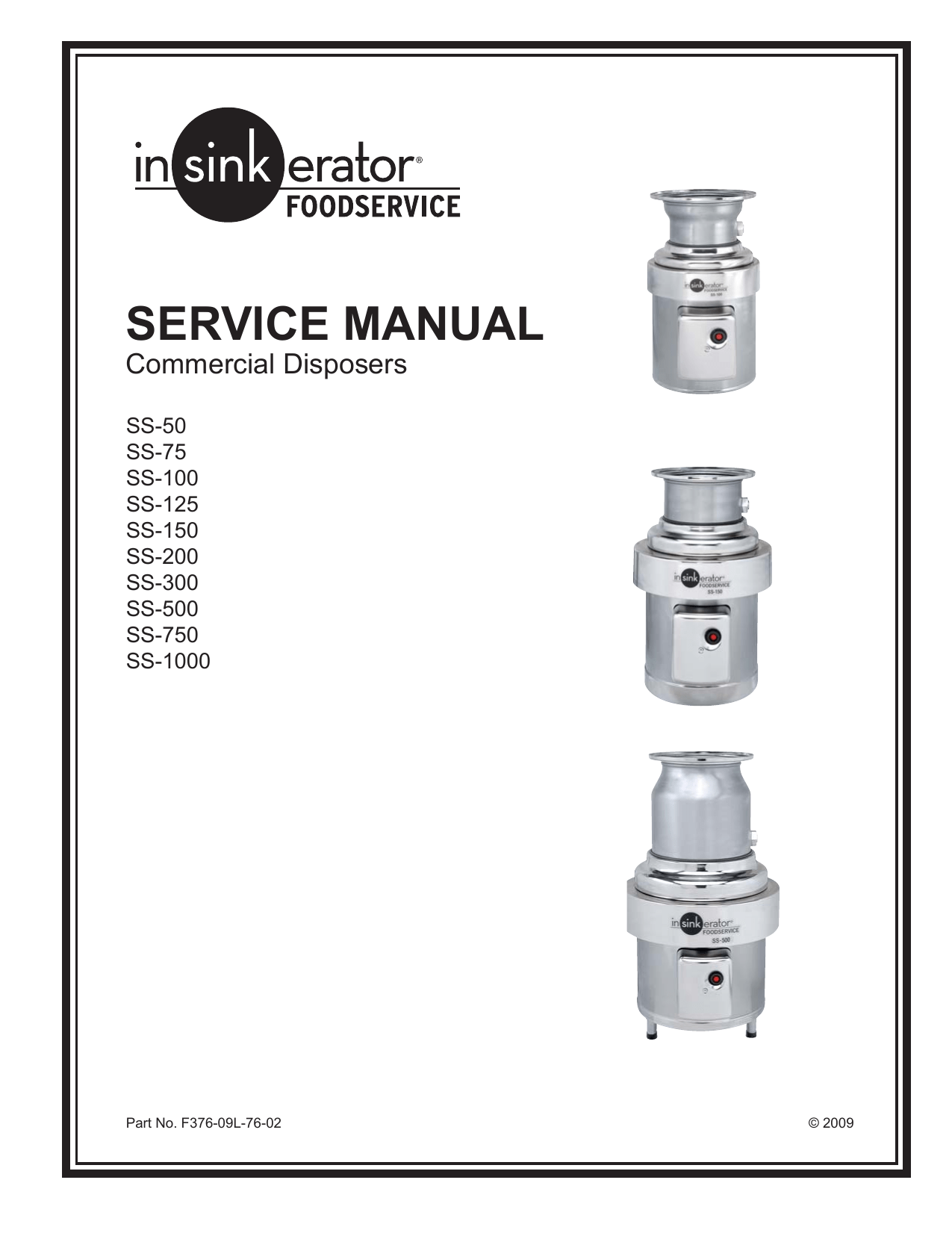 Service Manual For Insinkerator Commercial Disposers