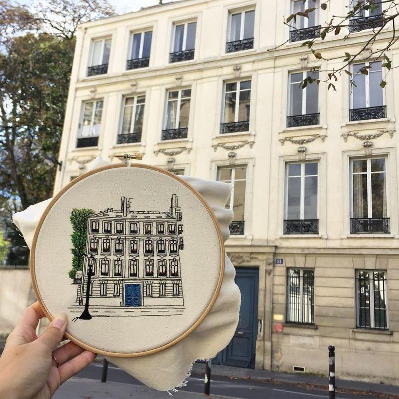 Вместо фото: путешественники воссоздают архитектуру Европы в очаровательных вышивках