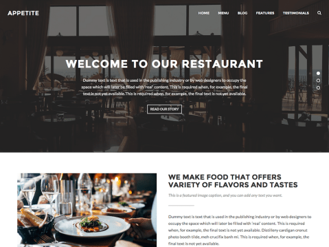 Appetite is a clean, flexible and fully responsive WordPress theme with special features for restaurants and cafes. Also, this theme can be used for any other business sites.
