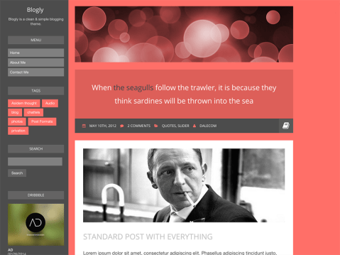 Blogly is a clean, flat design theme for personal bloggers.