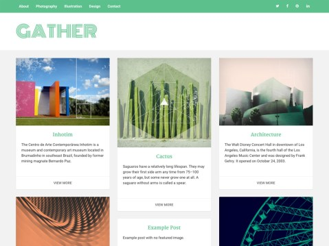 Gather is a highly adaptable theme for displaying products, art, and content. Multiple menu locations, social icons, and widget areas are available. Gather is responsive and looks great on all devices.