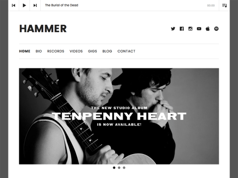 Hammer is a minimally modern WordPress theme with bold headlines, a masonry-style blog layout, and all the musician-essential features you've come to love from AudioTheme.