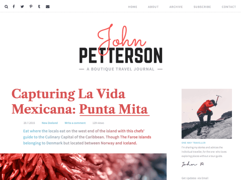 Jason is a blogging tool for the adventurers of the world. Share the thoughts, photos and videos of your wanderings with ease. Enjoy the beautiful typography, the flexibility to lay out your stories with ease and the clever integration of imagery with text. All to help you relax and enjoy writing.