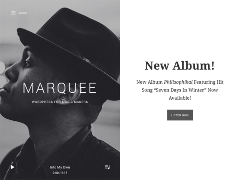 Marquee offers a simple, but uniquely delightful experience with its split screen layout and off-screen audio player.