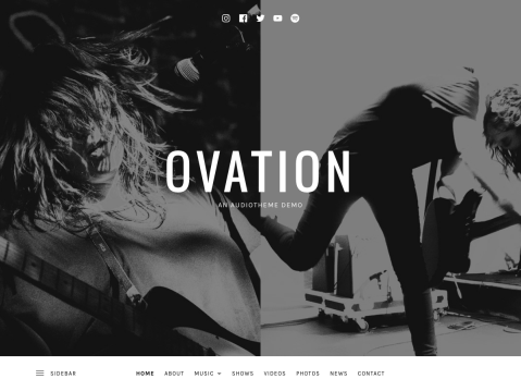 Ovation helps you create a well-considered, immersive website that extends beyond just the homepage. Highlights include a front page section layout, media-rich header, and parallax-like scrolling effect.