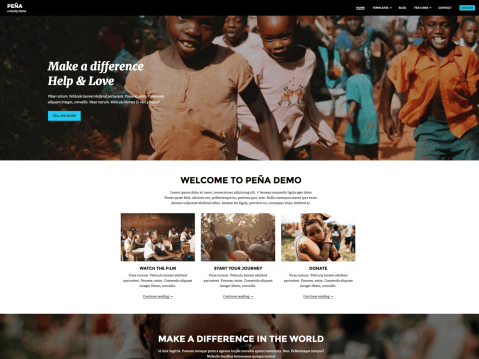 "This theme has been inspired by ""Living on One Dollar"" documentary we watched one night. We were deeply touched and wanted to somehow contribute to the whole project. As theme developers we decided to develop a WordPress theme to help spread the word about it. Pena is modern, responsive and mobile friendly theme."