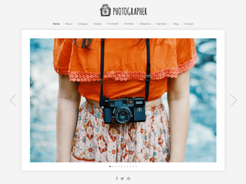 A beautifully simple solution for showcasing photos professionally. The theme features 1, 2 and 3-column layout options, a slideshow page template, homepage featured slideshow and responsive framework for displaying content seamlessly across mobile devices.