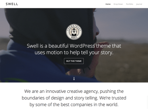 Swell is a one-column, typography-focused, video WordPress theme.