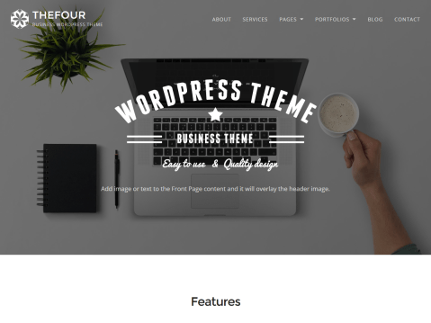 TheFour is a beautiful, creative and responsive theme for bloggers, designers and businesses. Features responsive design, retina-ready assets, impressive hero image with parallax scrolling effect, custom logo, page templates and translation-ready code.