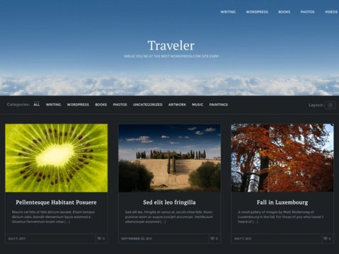 A WordPress photography theme, perfect for bloggers who want to document their travels with large photos, dramatic colors and Pinterest-style layouts.