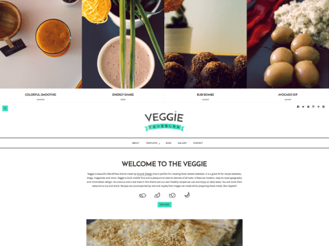 Veggie is a beautiful WordPress theme that is perfect for creating food-related websites. It is a great fit for recipe websites, blogs, magazines and more. Veggie is built mobile first and is pleasure to view on devices of all sizes. It features modern, easy-to-read typography and minimalistic design. As a bonus and a real treat in this theme are our own healthy recipes we use and enjoy on daily basis. You are more than welcome to try and share. Recipes are accompanied by real and royalty free images we made while preparing these meals. Bon Appetit!