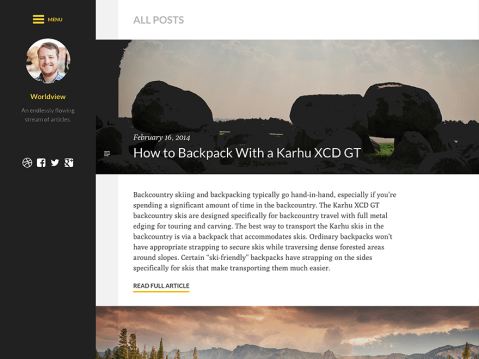 Worldview is a responsive photoblogging theme that makes displaying your photography dead simple and amazingly beautiful. Worldview offers crisp typography with great readability and resizable media for any device or screen size.