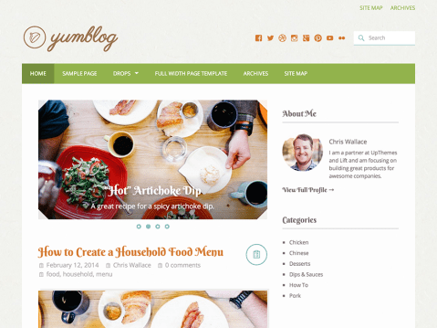 Yumblog is a delicious blog theme that can be used for a variety of purposes, including food blogs, recipe sharing, and web journaling.