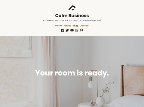 Your classy establishment needs an equally classy website to showcase your stylish rooms and quality products! With its bold typography and peaceful color scheme, Calm Business exudes a calm, inviting atmosphere as a bed and breakfast, time share, or brick & mortar store fronts.