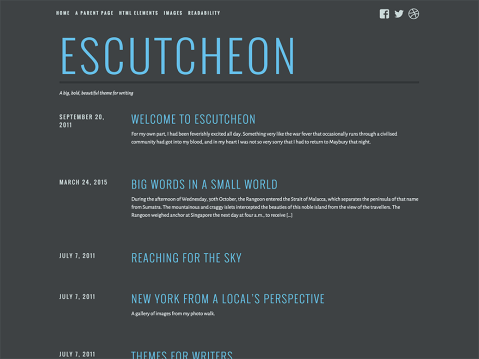 With its smoky color palette and bold typography, Escutcheon is the perfect theme for writers who want to stand apart from the rest.
