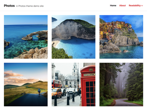 A single-column blogging theme that showcases your photos in a grid format.