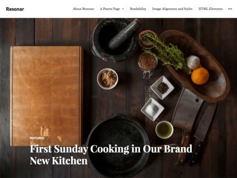 Resonar is an elegant blog theme that features full-screen featured images.
