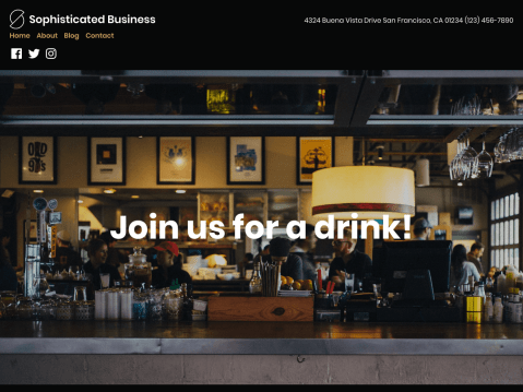 Your classy establishment needs an equally classy website to showcase your delicious food and special concoctions! With its bold typography and chic color scheme, Sophisticated Business exudes the same cool, intimate atmosphere as an upscale bar, lounge, or pub.
