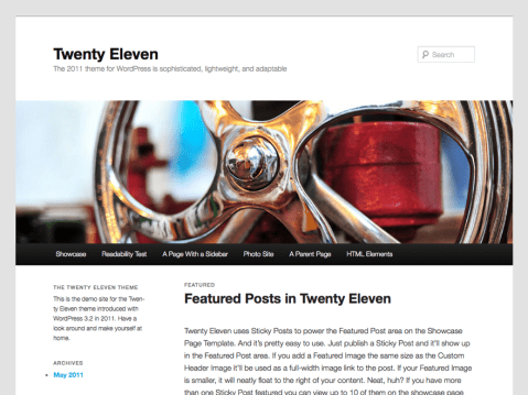 """The 2011 theme for WordPress is sophisticated, lightweight, and adaptable. Make it yours with a custom menu, header image, and background — then go further with available theme options for light or dark color scheme, custom link colors, and three layout choices. Twenty Eleven comes equipped with a Showcase page template that transforms your front page into a showcase to show off your best content, widget support galore (sidebar, three footer areas, and a Showcase page widget area), and a custom """"Ephemera"""" widget to display your Aside, Link, Quote, or Status posts. Included are styles for print and for the admin editor, support for featured images (as custom header images on posts and pages and as large images on featured """"sticky"""" posts), and special styles for six different post formats."""